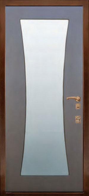декоративная фрезерованная ламинированная панель с зеркалом для стальной двери ФЛЗ-146
