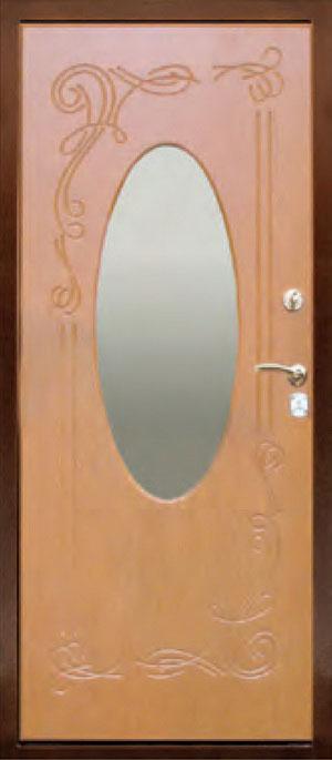декоративная фрезерованная ламинированная панель с зеркалом для стальной двери ФЛЗ-152