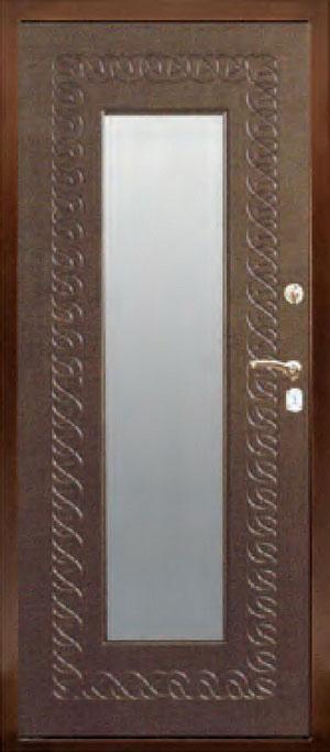 декоративная фрезерованная ламинированная панель с зеркалом для стальной двери ФЛЗ-153