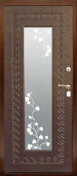 декоративная фрезерованная ламинированная панель с зеркалом для стальной двери ФЛЗ-156