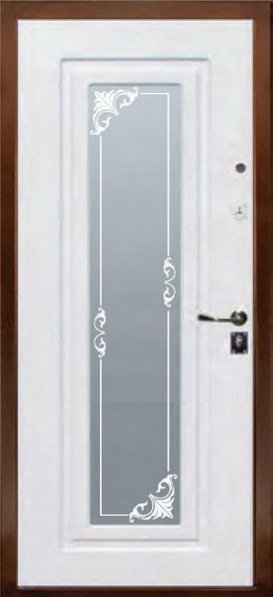 декоративная фрезерованная ламинированная панель с зеркалом для стальной двери ФЛЗ-157
