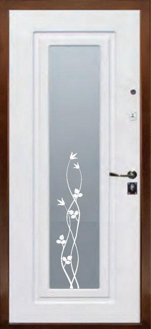 декоративная фрезерованная ламинированная панель с зеркалом для стальной двери ФЛЗ-158