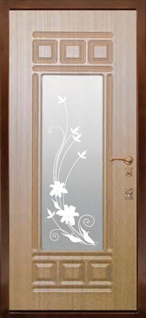 декоративная фрезерованная ламинированная панель с зеркалом для стальной двери ФЛЗ-160