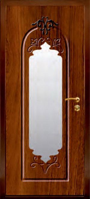 декоративная фрезерованная ламинированная панель с зеркалом для стальной двери ФЛЗ-186
