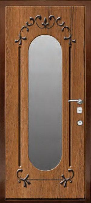 декоративная фрезерованная ламинированная панель с зеркалом для стальной двери ФЛЗ-187