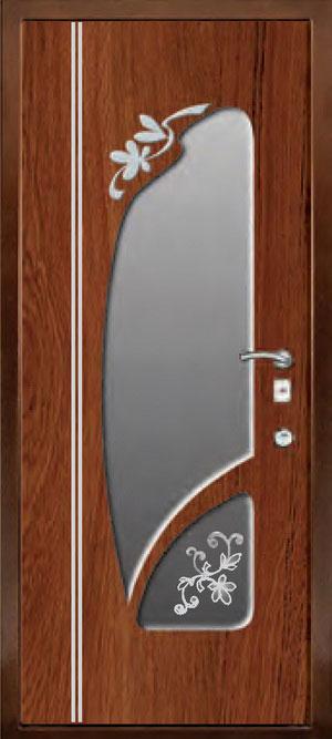 декоративная фрезерованная ламинированная панель с зеркалом для стальной двери ФЛЗ-188