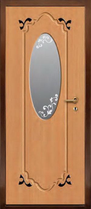 декоративная фрезерованная ламинированная панель с зеркалом для стальной двери ФЛЗ-189