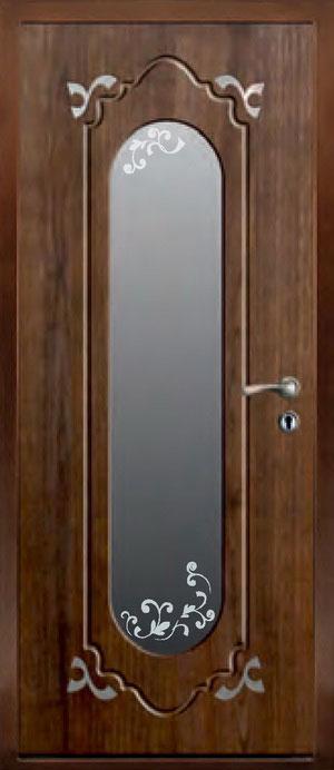 декоративная фрезерованная ламинированная панель с зеркалом для стальной двери ФЛЗ-190
