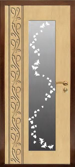 декоративная фрезерованная ламинированная панель с зеркалом для стальной двери ФЛЗ-193