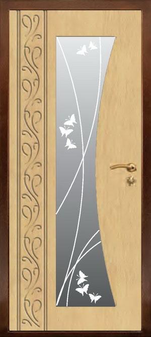 декоративная фрезерованная ламинированная панель с зеркалом для стальной двери ФЛЗ-194