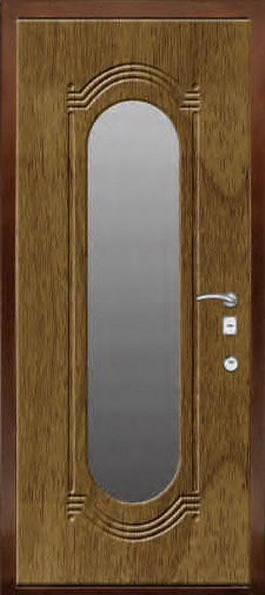 декоративная фрезерованная ламинированная панель с зеркалом для стальной двери ФЛЗ-197