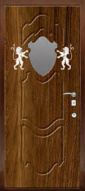 декоративная фрезерованная ламинированная панель с зеркалом для стальной двери ФЛЗ-198