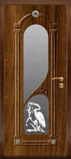 декоративная фрезерованная ламинированная панель с зеркалом для стальной двери ФЛЗ-201