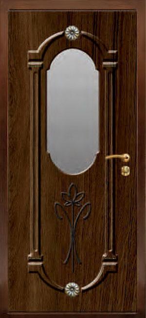 декоративная фрезерованная ламинированная панель с зеркалом для стальной двери ФЛЗ-202