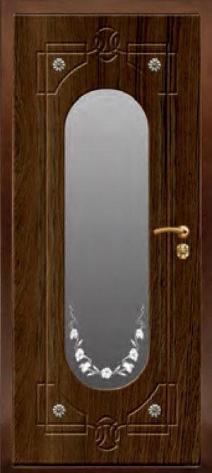 декоративная фрезерованная ламинированная панель с зеркалом для стальной двери ФЛЗ-203