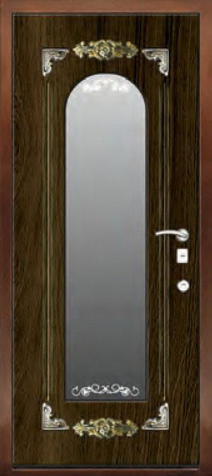 декоративная фрезерованная ламинированная панель с зеркалом для стальной двери ФЛЗ-204