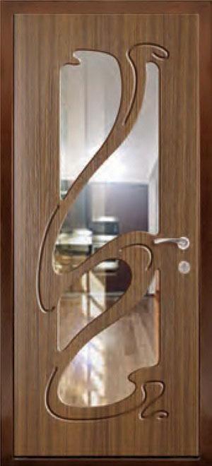 декоративная фрезерованная ламинированная панель с зеркалом для стальной двери ФЛЗ-206