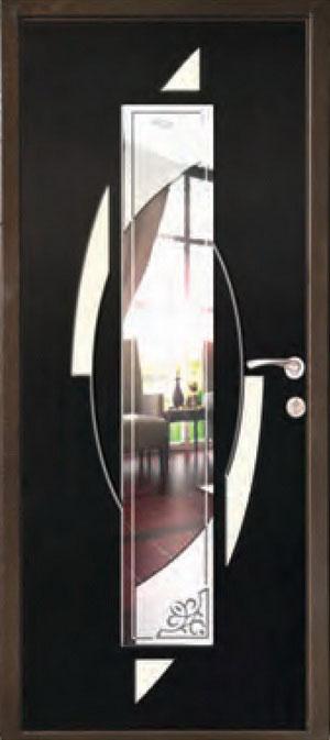 декоративная фрезерованная ламинированная панель с зеркалом для стальной двери ФЛЗ-207