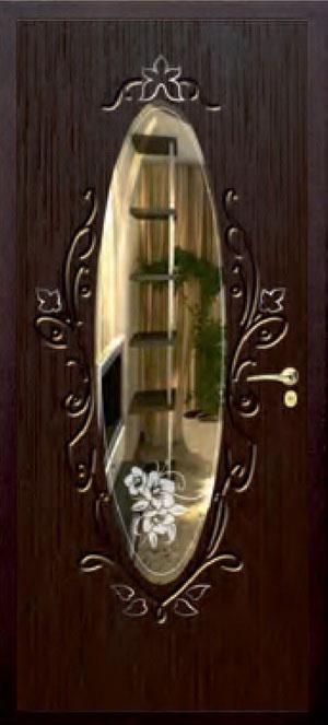 декоративная фрезерованная ламинированная панель с зеркалом для стальной двери ФЛЗ-209