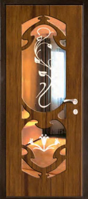 декоративная фрезерованная ламинированная панель с зеркалом для стальной двери ФЛЗ-210
