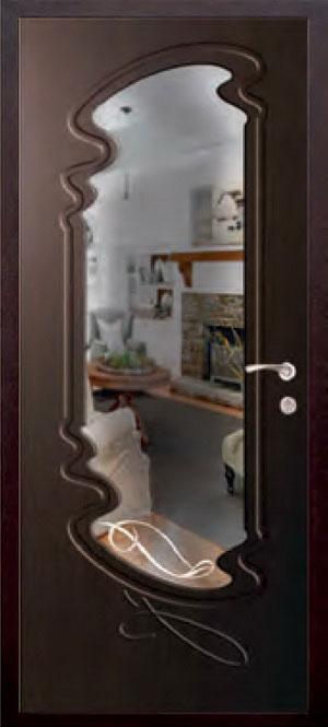 декоративная фрезерованная ламинированная панель с зеркалом для стальной двери ФЛЗ-211