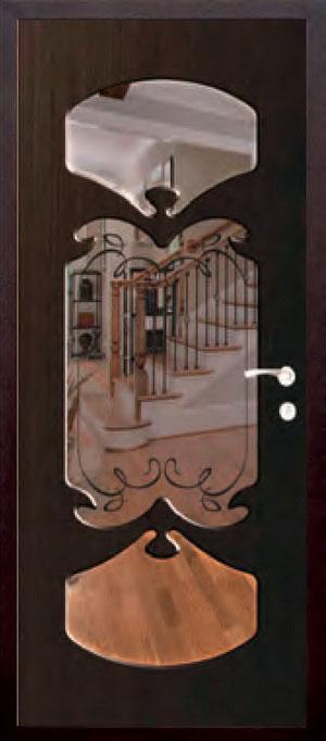 декоративная фрезерованная ламинированная панель с зеркалом для стальной двери ФЛЗ-212