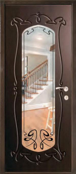 декоративная фрезерованная ламинированная панель с зеркалом для стальной двери ФЛЗ-214