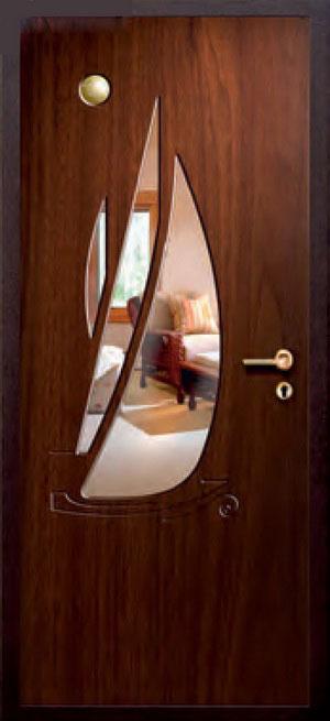 декоративная фрезерованная ламинированная панель с зеркалом для стальной двери ФЛЗ-220