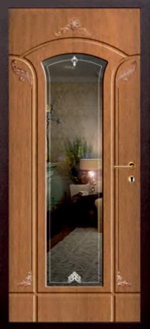 декоративная фрезерованная ламинированная панель с зеркалом для стальной двери ФЛЗ-221