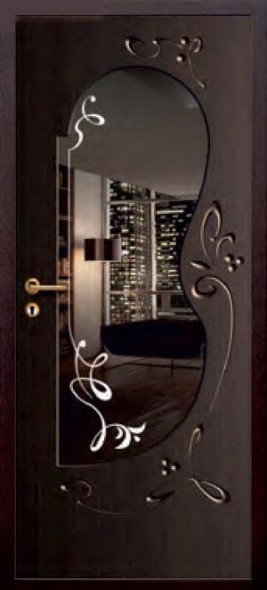 декоративная фрезерованная ламинированная панель с зеркалом для стальной двери ФЛЗ-222
