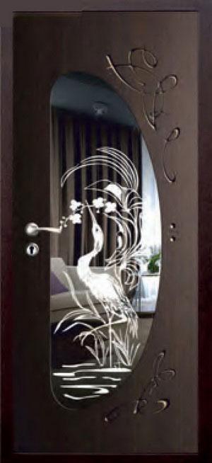 декоративная фрезерованная ламинированная панель с зеркалом для стальной двери ФЛЗ-223