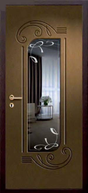 декоративная фрезерованная ламинированная панель с зеркалом для стальной двери ФЛЗ-225